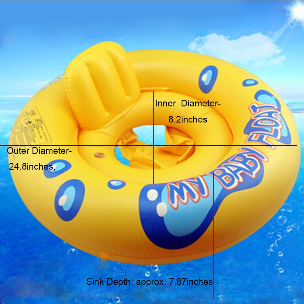 Baby Float Water Toys Floating Swim PVC Inflatable Pool Combo Swimline Seat Safety Swimming Circle for 1-3 Years Old Gentlecarin