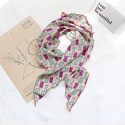 SAIBANGZI Primavera y Verano Pequeñas Bufandas de Seda Bufanda Capucha Otoño Impresión Triangular Toalla Decoración Bufanda