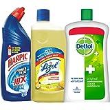 Harpic Toilet Original Cleaner, 1 L with Lizol Floor Cleaner, 975ml (Citrus) and Dettol Original Liquid Soap Jar, 900ml