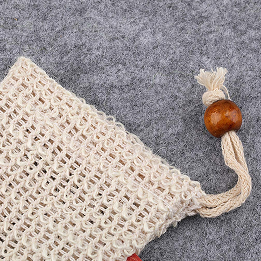 Lurrose 6pcs Sisal Soap Bag Exfoliating Soap Pouch Scrubbing Fine Mesh Soft Soap Saver Foam Net With Drawstring For Bathing and Washing