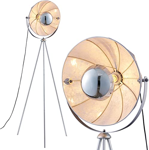 Mid Century Modern Tripod Floor Lamp, Standing Light with Chrome Shade for Living Rooms and Bedrooms Archiology