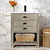 """LUCA Kitchen & Bath LC24TDP Grayson 24"""" Reclaimed Wood Modern Farmhouse Bathroom Vanity in Distressed Gray with…"""