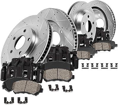 Black Drilled Slotted Brake Rotors /& Semi-Met Pads CBC.4417302 COMPLETE KIT