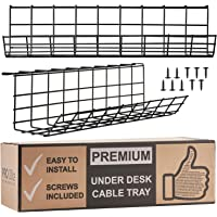 Under Desk Cable Management Tray - Cable Organizer for Wire Management. Metal Wire Cable Tray for Office and Home (Black, 34)