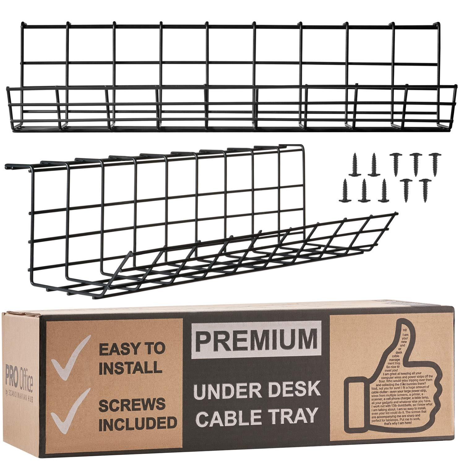 Under Desk Cable Management Tray - Cable Organizer for Wire Management. Metal Wire Cable Tray for Office and Home (Black 2 Pack) by Scandinavian Hub