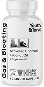 Activated Charcoal Pills for Bloating and Gas Relief w/ Peppermint & Organic Coconut Oil   Active Charcoal Powder in Liquid Capsules for Stomach & Digestive System   Natural Detox for Men & Women