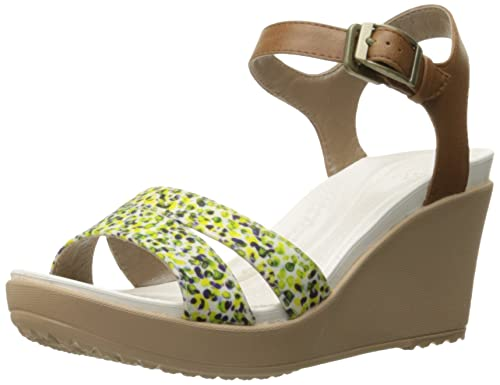 78b9d009767 Crocs Women s Leighii Anklestrap Graphic Wedge Sandal  Amazon.ca ...