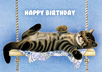 Amazon Tree Free Greetings The Swinger Birthday Cards 2 Card Set Cat Multicolored 14191 Cardstock Papers Office Products