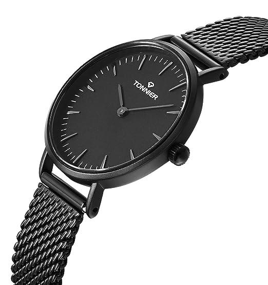 Tonnier Relojes Mujer Slim Acero Inoxidable Correa de Malla de Cuarzo Reloj de Malla: Amazon.es: Relojes