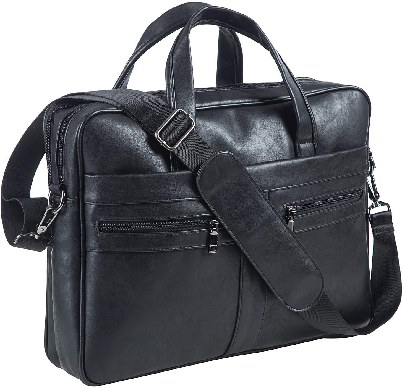Men's Leather Messenger Bag, 17.3 Inches Laptop Briefcase Business Satchel Computer Handbag Shoulder Bag for Men (Black)