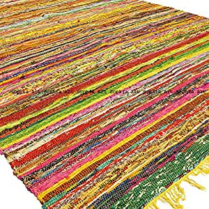 Indian Bohemian Handmade Reversible Rug Braided Area Decorative Chindi Rag Rug Home Floor Decor Runner Cotton Yoga Mat Rug (6.5ftX3ft) (Yellow)