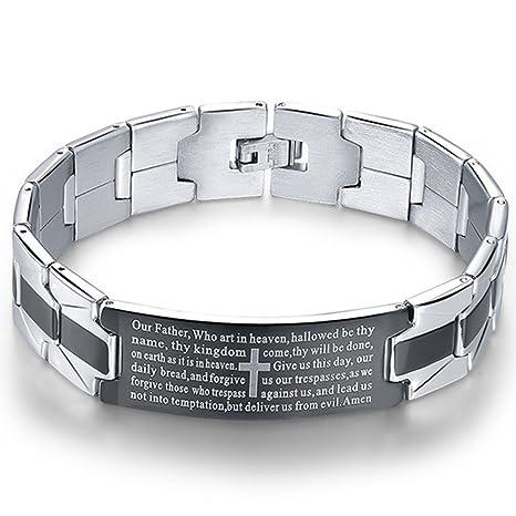Amazon.com: Pulsera de acero inoxidable para hombre, diseño ...