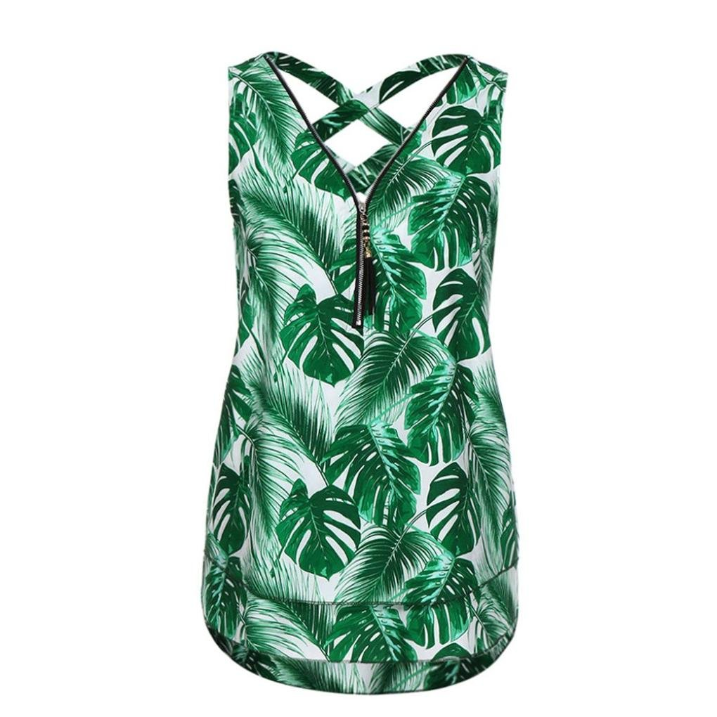 BCDshop Women Sleeveless Tank Top Lady Casual Shirt Fashion Summer Camis Blouse (Green A, S)