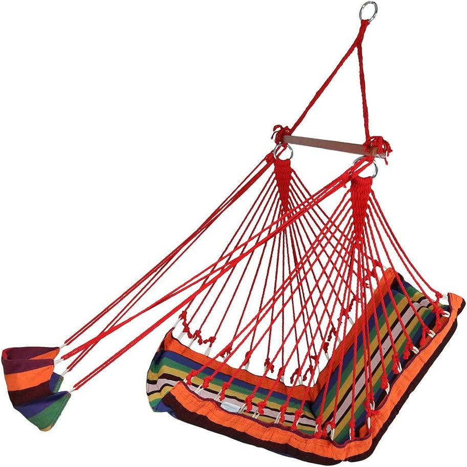 Sunnydaze 26 Inch Wide Hanging Hammock Chair with Footrest - Sunset - 330 lbs Weight Capacity