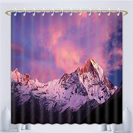 Amsome Unique Custom Shower Curtains Modern Decor Snowy Machapuchare Mountain Peaks In Winter North Central Nepal Scene Art Purple Brown Polyester Fabric Shower Curtain Bathroom 60 X 72 Inches Amazon Co Uk Kitchen