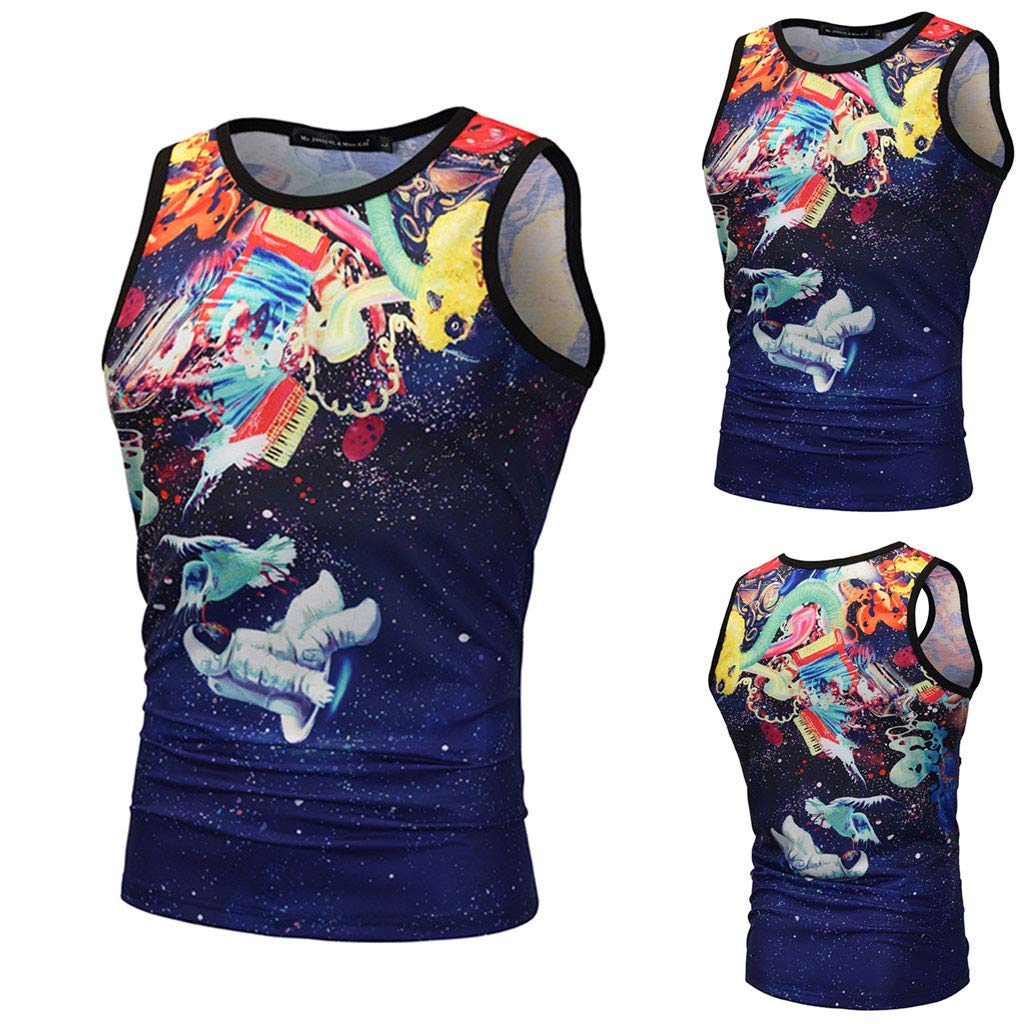 STORTO Mens Cool Workout 3D Print Tank Top Mesh Dry Fit Casual Sleeveless Shirts