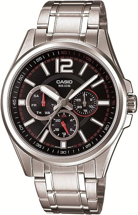 a247689e6525 Casio MTP-1355D-1AVEF - Reloj analógico de cuarzo para hombre con correa de  acero inoxidable