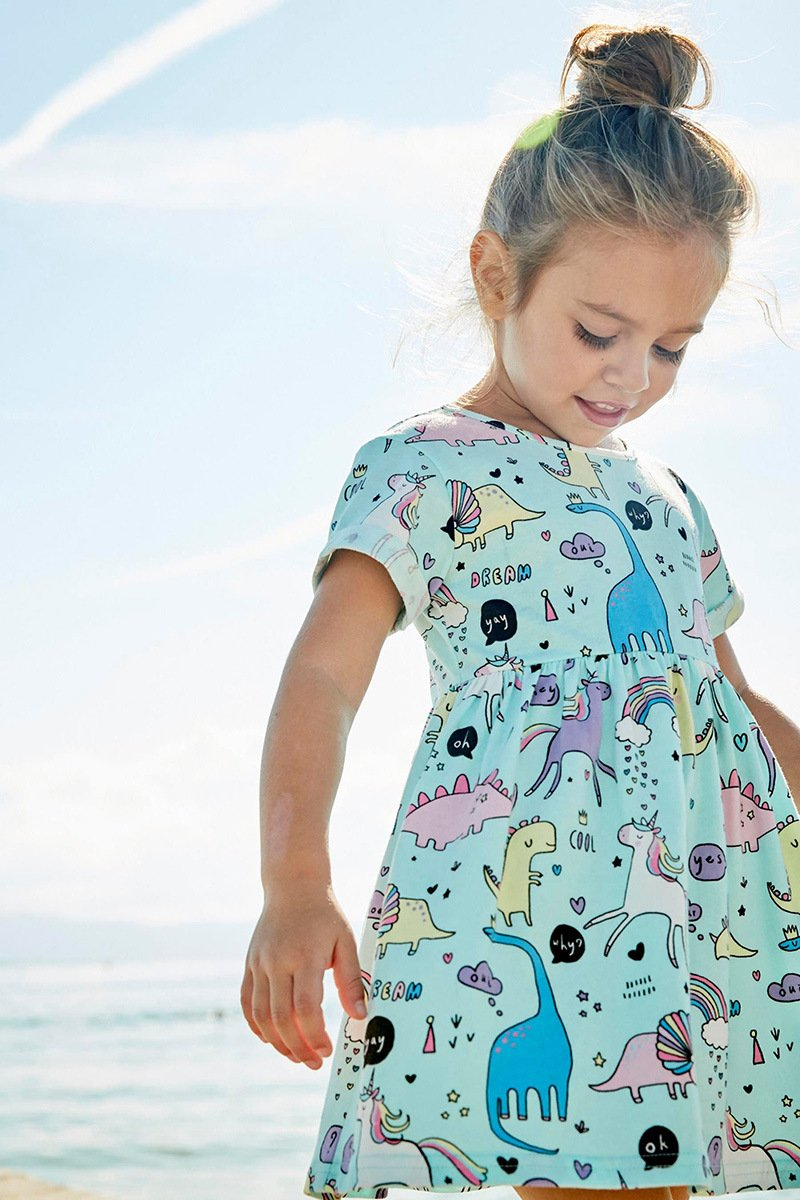 JiaYiYi Girls Dinosaur Casual Dresses Cotton Summer Short Sleeve Skirt Dress for Kids Size 2T-7T (7, Blue) by JiaYiYi (Image #3)
