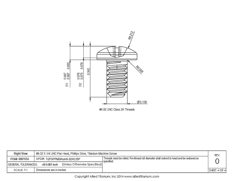 Phillips Drive #6-32 X 1//4 UNC Pan Head Inc 608838001 Grade 2 Machine Screw Pack of 25 Allied Titanium 0001555, CP