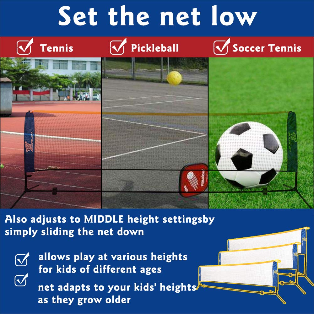 Tennis or Volleyball Portable Net Stand for Family Outdoor Games Bogalen Height Adjustable Badminton
