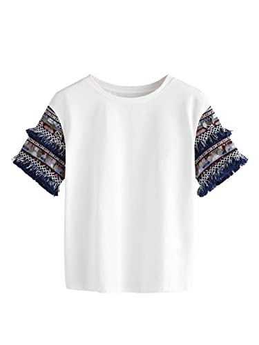 b5a3e3c47ed794 Floerns Women s Fringe Short Sleeve Cute Casual T-Shirt Tops at Amazon  Women s Clothing store