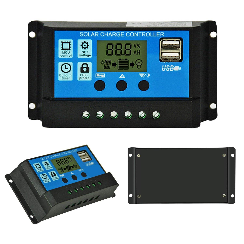 Binen 12V/24V Solar Charge Controller 10A Charge Regulator Intelligent, USB Port, LCD Display Overload Protection (10A-Blue)