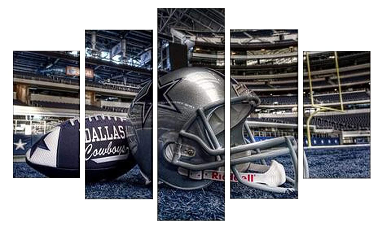 PEACOCK JEWELS [Large Premium Quality Canvas Printed Wall Art Poster 5 Pieces / 5 Pannel Wall Decor Dallas Cowboys Sport Painting, Home Decor Pictures - Stretched