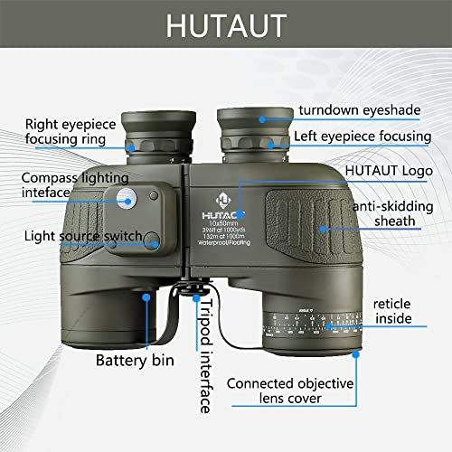 HUTACT Military Binoculars for Adults 10×50, Built-in Compass and Range Finder, for Bird Watching Large Eyepiece Lens, Large Field of Vision, Suitable for Hunting, Cross-Country and Travel