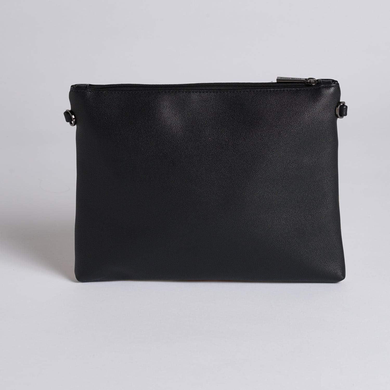 Nicole Large Cork Black 11 x 8 Vegan Leather Pouch Wristlet Crossbody Handbag