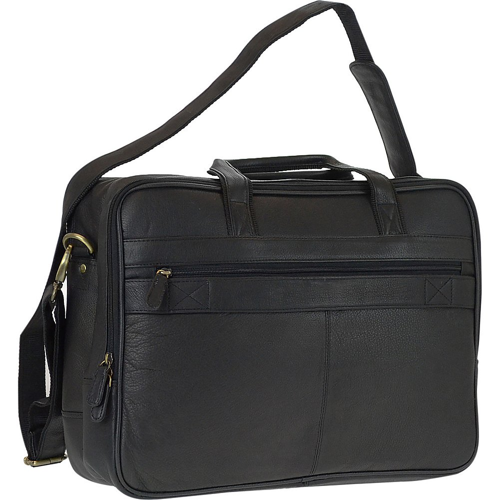 R /& R Collections Genuine Leather Double Gusset Briefcase With Laptop Sleeve