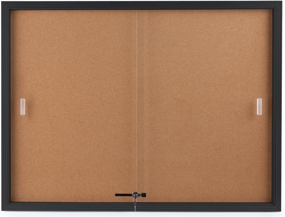 Displays2go Enclosed Cork Board, Sliding Glass Door, 4 x 3 Foot, Locking Bulletin Board for Wall (CBSD43BK)