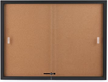 Enclosed Cork Board With Sliding Glass Door 4 X 3 Locking Bulletin Board For Wall Mount Use Black Aluminum Frame With Natural Self Healing Cork Surface Amazon Co Uk Office Products