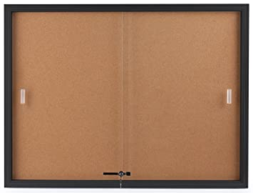 Displays2go Enclosed Cork Board, Sliding Glass Door, 4u0027 X 3u0027, Locking