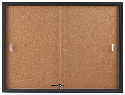 Amazon displays2go enclosed cork board sliding glass door displays2go enclosed cork board sliding glass door 4 x 3 locking planetlyrics Choice Image