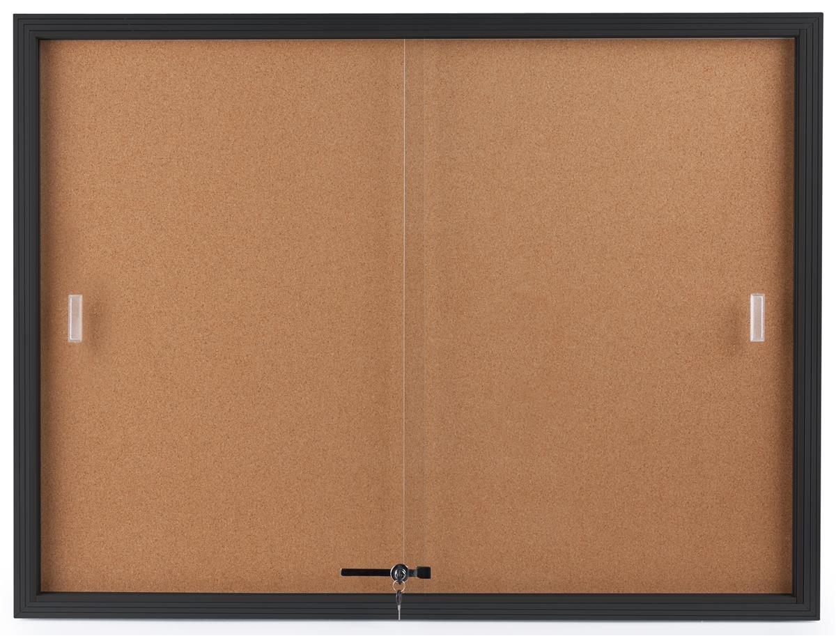 Displays2go Enclosed Cork Board, Sliding Glass Door, 4' x 3', Locking Bulletin Board for Wall (CBSD43BK) by Displays2go