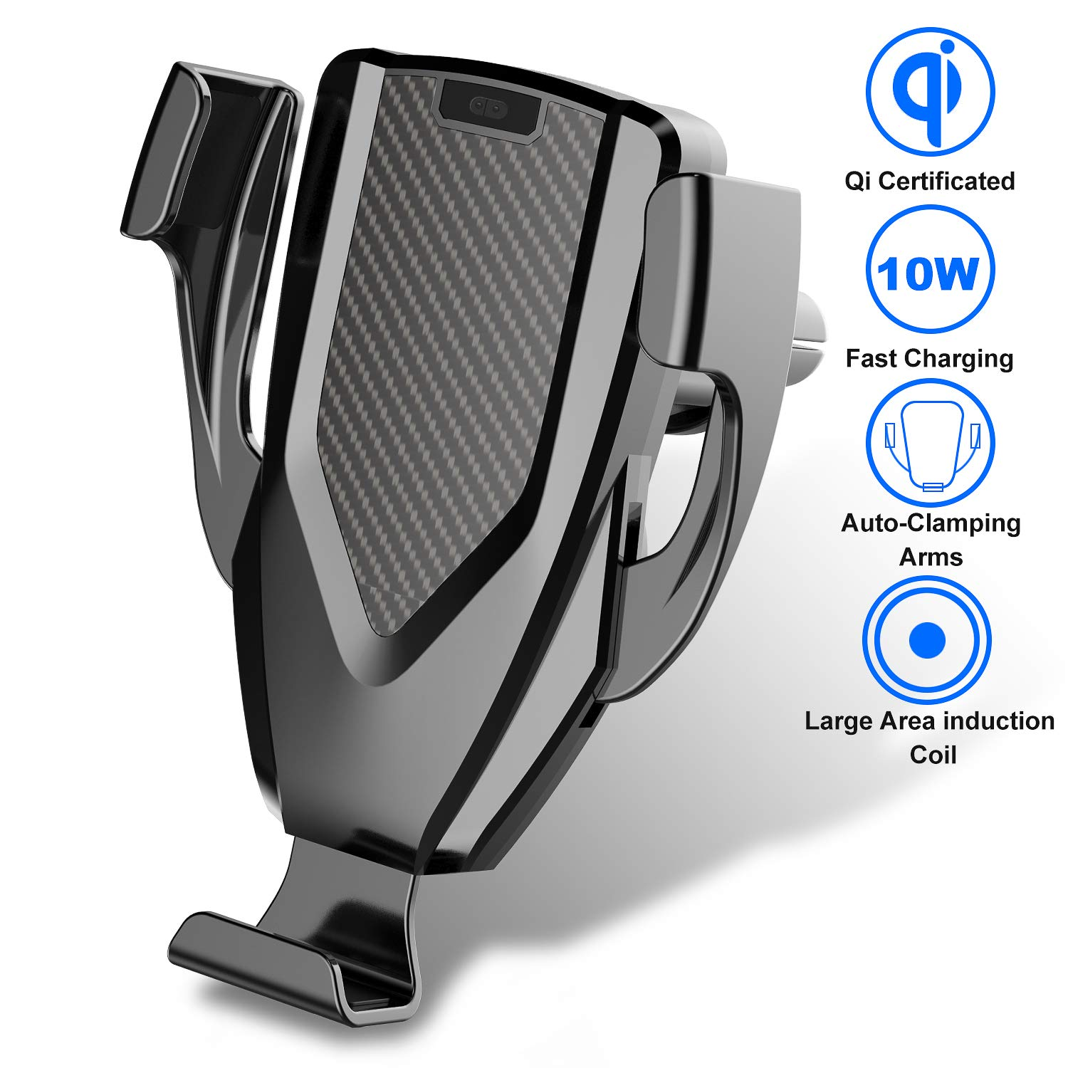 BWXJH Wireless Car Charger,Multi-Touch Auto-Clamping 10W/7.5W Qi Fast Charging Car Phone Holder for iPhone Xs/Max/X/XR/8/8 Plus,Samsung Note 9/ S9/ S9+/S8/S10/S10+/S10e (Air Vent Mount)