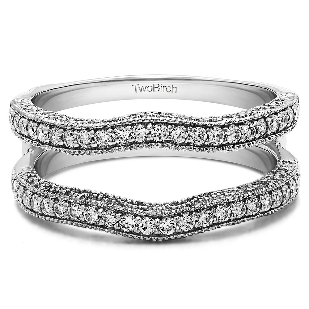 TwoBirch 0.26 ct. Cubic Zirconia Contour Ring Guard with Millgrained Edges and Filigree Cut Out Design in Sterling Silver (1/4 ct. twt.)