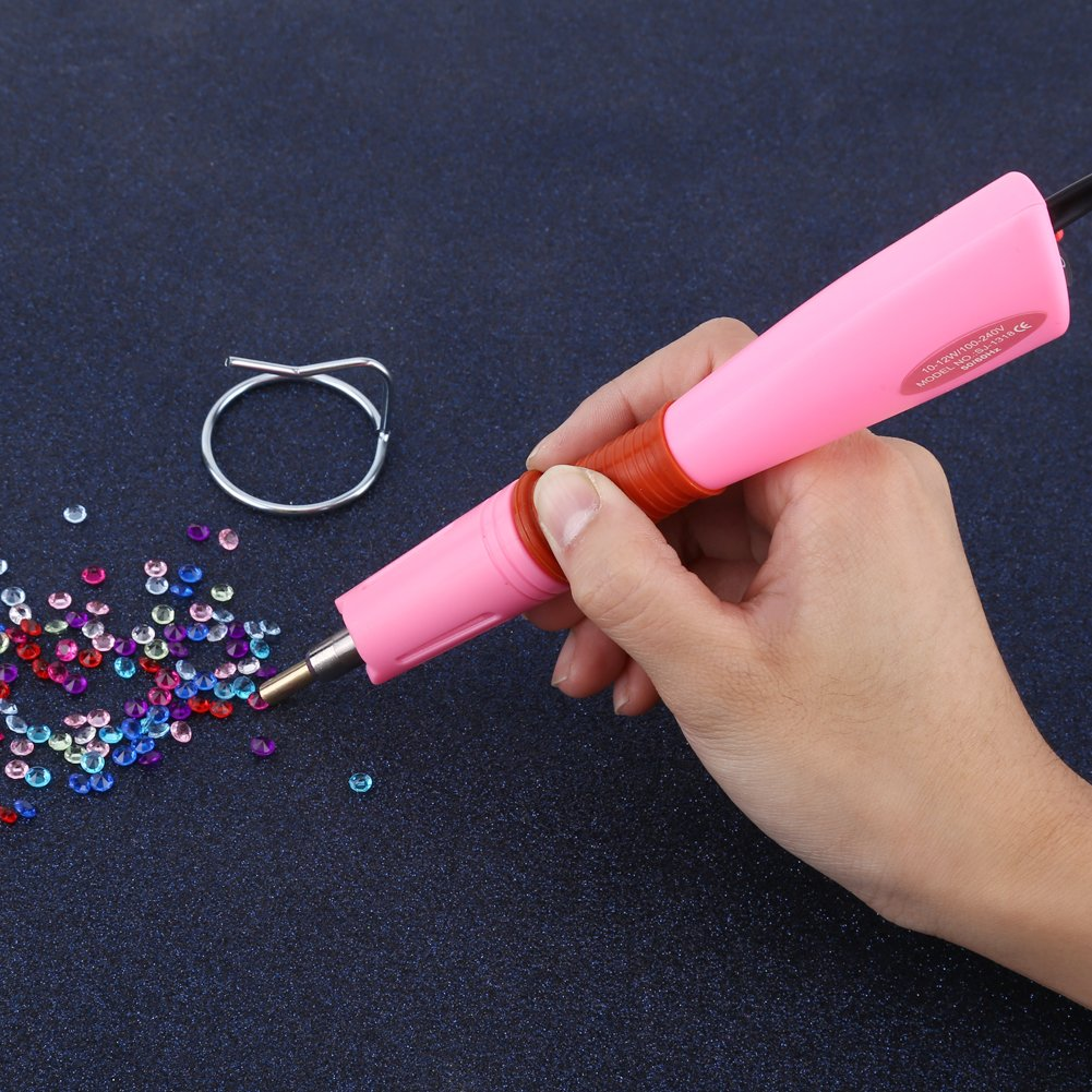 Pink Rapid Heating Up Hot Fix Bacchetta con strass Applicatore in tessuto Stud 0026 Gem Setters Abbellimento Strumenti 110-240V Spina europea