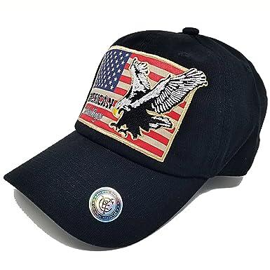 72b3bab9a77 MrKap USA American Flag Patch Baseball Cap Men Women Mesh Hat - Black -  Adjustable