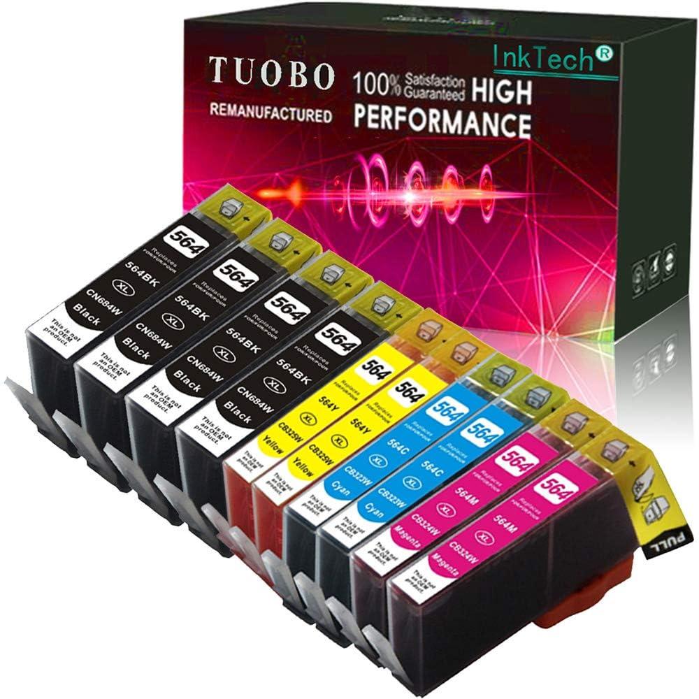 Tuobo 564XL Ink Cartridge Compatible for H-P Deskjet 3520 3521 3522 3526 Officejet 4610 4620 4622 Photosmart 5510 7510 7515 5512 5514 5515 5520 5525 6510 6512 6515 6520 6525 (4 Big BK+2C+2M+2Y)