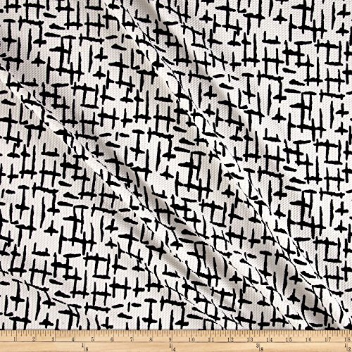 [Telio Paola Pique Knit Black Light on Cream Fabric By The Yard] (Pique Knit Fabric)