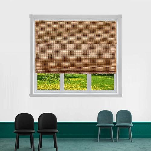 TJ GLOBAL Cordless Bamboo Roman Window Blind Sun Shade