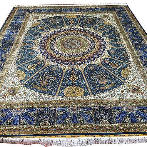 Yuchen 8 x 10 Blue Large Handmade Persian Kashan Area Silk Rugs for Living Room