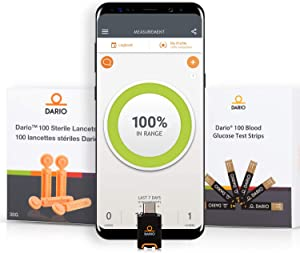 Bundle & Save Dario Diabetes Blood Glucose Meter Kit. Test Blood Sugar Estimate A1c. All-in-One Smart Blood Sugar Monitor + 125 Strips + 110 Sterile lancets (Android USB-C Only)