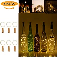 Wine Bottles Cork Lights, FVTLED 6 Pack Copper Wire String Lights 20 LEDs Starry Fairy Light Battery Powered for Bottle DIY, Christmas, Valentine Wedding and Party (Warm White)