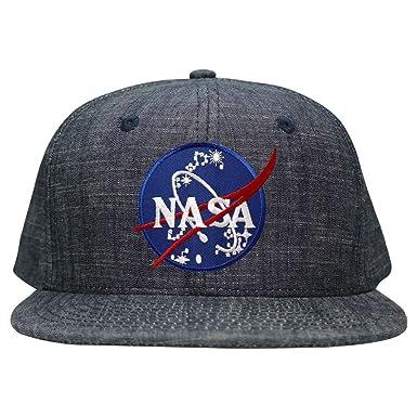 3a895f2c55559 Washed Denim NASA Insignia Space Embroidered Logo Iron on Patch Snapback Cap  - Blue -  Amazon.co.uk  Clothing