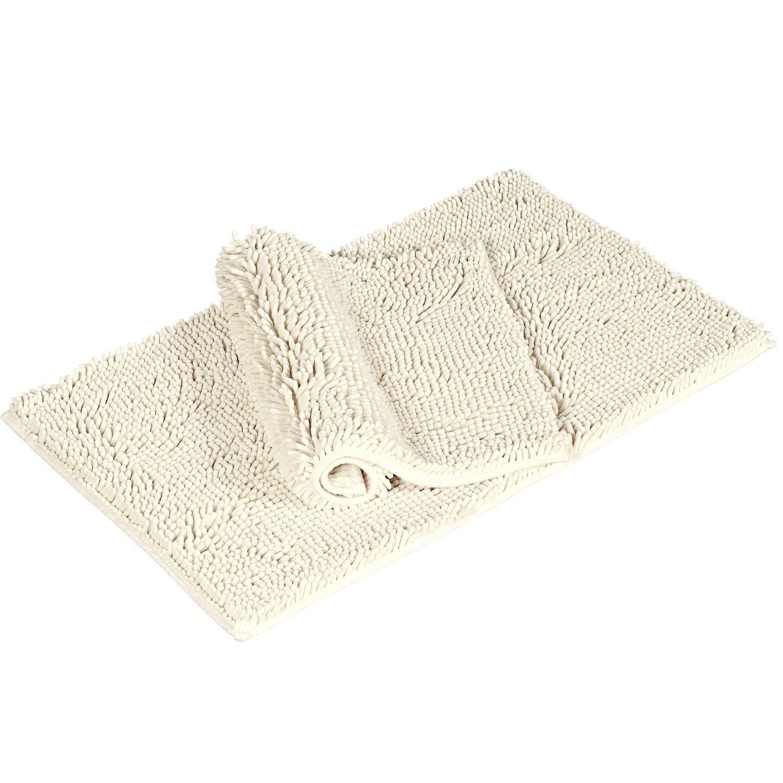Flamingo P Non-Slip Super Soft Microfiber Shag Bathroom Rug, Bath Mat 17'' x 24'' 20'' x 32'', 2 Pack, Ivory