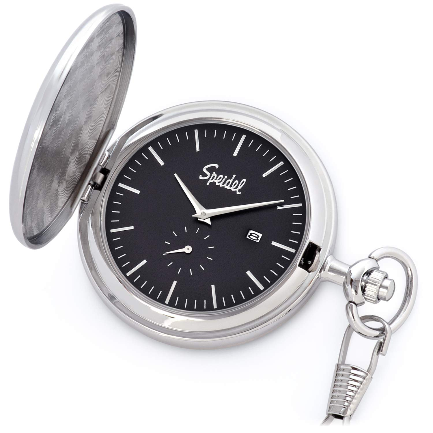 Speidel Classic Brushed Satin Silver-Tone Engravable Pocket Watch with 14'' Chain, Black Dial, Date Window, and Seconds Sub-Dial