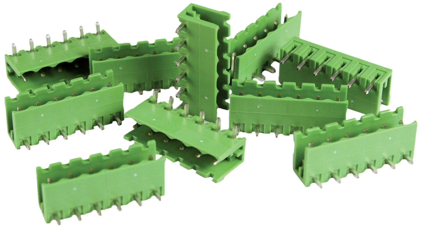 ASI CPM5.08-6SQAVE-50 6 Position Pluggable Header Horizontal Plug Entry 12 Amp Open End Green Pack of 50 5.08 mm Pitch