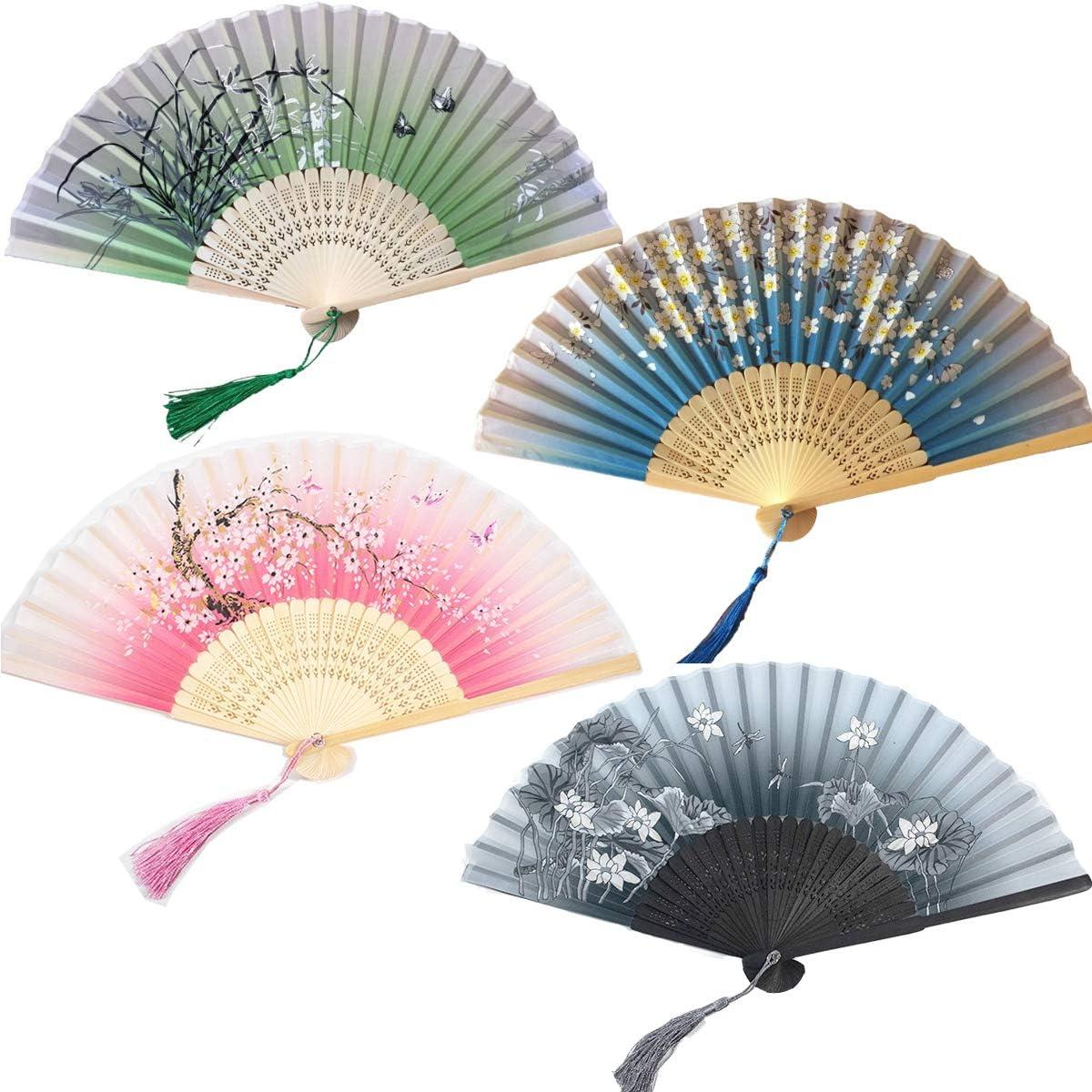 Tangger 4 Piezas Abanicos Plegables Abanico de Estilo Japonés de Papel y Bambú Paper Fan para Decoración Fiesta Baile Boda Casa Oficina DIY Regalo: Amazon.es: Hogar